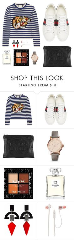"""Untitled #113"" by rach-greenwell ❤ liked on Polyvore featuring Gucci, Finders Keepers, FOSSIL, Chanel, Toolally and JBL"