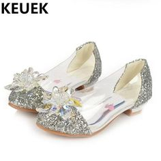 >> Click to Buy << 2017 NEW Crystal shoes Girls princess Low-heeled Sequins Children High heels Fashion Glass bright diamond Kids Leather Shoes 02 #Affiliate