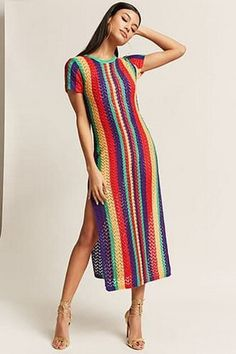 Colorful Stripes Split-side Cover-up Swimwear Colorful Stripes Split-side Cover-up Swimwear – bonboho Crochet Summer Dresses, Crochet Lace Dress, Knit Dress, Mode Crochet, Knit Crochet, Boutique Style, Crochet Vintage, Moda Retro, Fashion Pattern