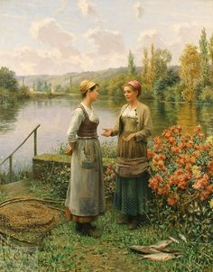 The Day's Catch by Daniel Ridgway Knight - 32 1/4 x 25 3/4 inches Signed and inscribed Paris french american academic peasants girls garden figures figurative genre