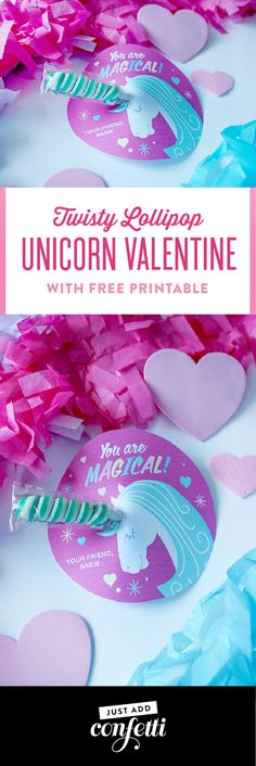 Twisty Lollipop Unicorn Valentine - Just Add Confetti : You are magical! This Twisty Lollipop Unicorn Valentine is so simple and sweet! Just grab the free printable and tape the twisty lollipop to the back. Perfect for classroom valentine parties! Valentine Box, Valentines Day Party, Valentines For Kids, Valentine Crafts, Printable Valentine, Valentine Ideas, Unicorn Valentine Cards, Valentine Stuff, Funny Valentine