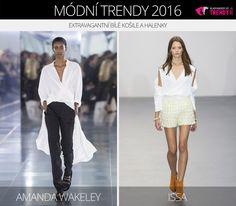 Módní trendy 2016 – extravagantní bílé košile a bílé halenky. (Zleva: Amanda Wakeley a Issa.)