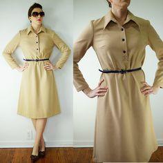VINTAGE 1960s Camel Tan & Navy Blue Long Sleeve Belted Shirt Dress Size Medium by MyGrayCatVintage, $40.00