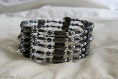 Silver and Black Magnetic Hematite Wrap Bracelet or Necklace 38 Inch