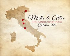 Map of Italy, Customized for Honeymoon, Anniversary, Travel, Birth, Engagement - 8x10, Personalized Wedding Gift for Couples, Italian, Rome