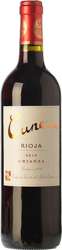 Cune crianza 2010 - DO Rioja - Compañía Vinicola del Norte de España (CVNE) - Vino tinto crianza envejecido 12 meses en barricas de roble - Tempranillo 80%, garnacha 10% y mazuelo 10% - 13,5% - 90 PARKER #vinoshonrados