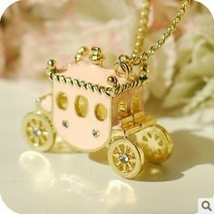 1.60 euro incl shipping (Min order$10) Free Shipping!Europe and the United States jewelry retro sweet pink pumpkin car Necklace Mao Yilian!#1452