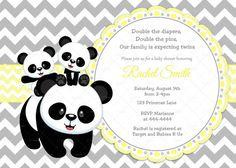 Yellow and Grey Chevron Twin Panda Baby Shower Invitation by CuddleBugInvitations, $10.00
