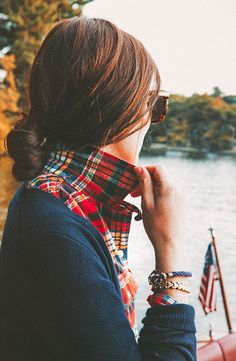 Plaid and a navy cardigan perfection.