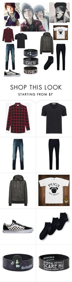 """""""Kohnnie"""" by emo-oreo-cookie ❤ liked on Polyvore featuring Yves Saint Laurent, Versace, Jacob Cohёn, True Religion, Uniqlo, Vans, Lands' End, Sebastian Professional, mens and men"""