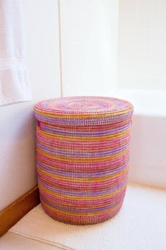 Berry Striped Peace Corps Laundry Hamper - Swahili Modern | domino.com