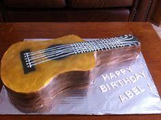 Guitar birthday cake.
