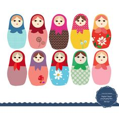 Matryoshka Russian Doll - Digital Clip Art Clipart Embellishments for Scrapbooking Cards Stationery Paper, Personal and Commercial Use c019
