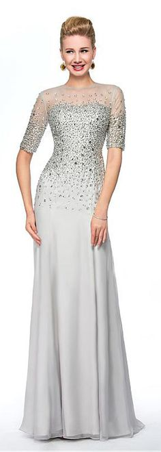 Exquisite Silk-like Chiffon Jewel Neckline Sheath Mother Of The Bride Dresses With Beadings