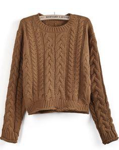 Khaki Long Sleeve Cable Knit Crop Sweater - Sheinside.com