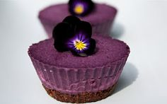 Blueberry Cardamom Mini Cheesecakes