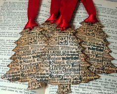 Arbre de Noël étiquettes SET de 6 avec luxe-couleur par craftypagan