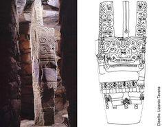 """""""Al interior de la Pirámide Principal del Templo Viejo la galería principal (la Galería del Lanzón) tiene forma de cruz y divide simbólicamente en 4 a este edificio. En el centro de dicha cruz esta clavado el Lanzón, simbolizando ser el centro, el eje sobre el que gira el universo (Makowski 1997)."""""""
