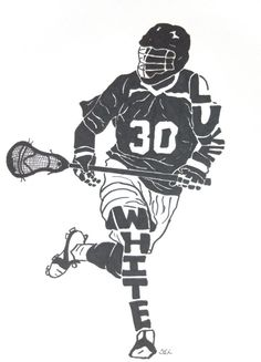 Male Lacrosse Player with Short Stick Name Silhouette