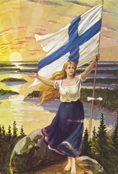 of December in the midst of the October Revolution in Russia, Finland carves itself out of the chaos and declares independence. The Finnish Maiden by an unknown artist, 1906 Helsinki, Meanwhile In Finland, Finland Flag, Finland Travel, Map Pictures, Propaganda Art, Scandinavian Countries, Airbrush Art, Up Girl