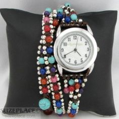 Elly Preston Jewelry Beaded Wrap Watch Multi Color Gemstone Mother of Pearl Dial SuzePlace.com