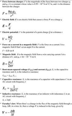 Physics I formulas. Because you still need them sometimes in physics II