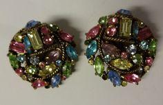 Vintage Hollycraft Runway Fashion Multicolor Rhinestone Earrings Clip On RARE