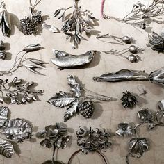 A collection, part 2. These botanical pieces will also be part of an exhibit opening on June 11th. They are all hand fabricated with sterling silver, not cast nor dipped.#nicoleringgold #liveinart #botanicaljewelry #handfabricated