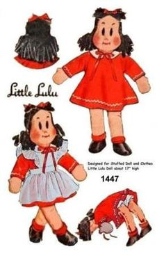 "Vintage 1940's 17"" Little Lulu Stuffed Rag Doll Pattern 1447"