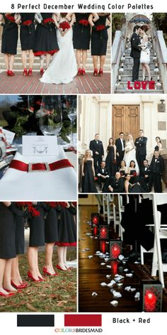 8 Perfect December Wedding Color Palettes Ideas for 2019 - Black and Red Red Bridesmaids, Red Bridesmaid Dresses, Wedding Dresses, December Wedding Colors, Winter Wedding Colors, Black Red Wedding, Purple Wedding, Just Dream, White Bridal