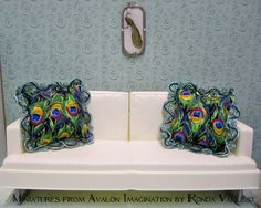 By Miniatures from Avalon - Barbie or Blythe size miniature (1/6th scale) pair of peacock decorative pillows with gorgeous trim NOT TOYS photo 1/5