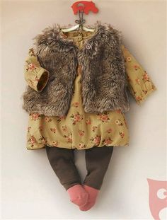 This is so cute! Baby Girl Dress, waistcoat & leggings outfit BEIGE MEDIUM ALL OVER PRINTED