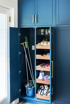 11 Design Ideas Perfect for Your Pantry Renovation Brooms and mops often get stashed in coat closets or end up leaning against a wall. Create a cubby in your pantry design to house cleaning supplies so they have a home but are out of the way. Pantry Renovation, Kitchen Pantry Cabinets, Room Remodeling, Laundry Room Storage, Cleaning Closet, Home Renovation, Mudroom Laundry Room, Pantry Design, Storage