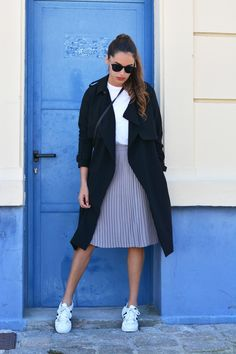 Trench + Basic Tee + Pleated Skirt + Sneakers