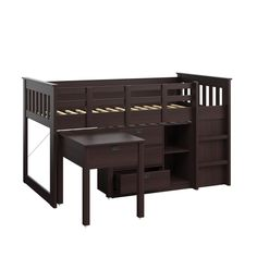 CorLiving Madison Single Desk and Storage Twin Loft Bed in Rich Espresso for sale online Single Loft Bed, Space Saving Desk, Bunk Bed With Desk, Low Loft Beds, Bed Reviews, Desk Storage, Stackable Chairs, Loft Spaces, Bed Sizes