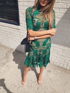 Form Fitted Emerald Lace Dress for NYFW