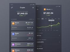 Crypto UI 2 designed by Daniel Klopper. Connect with them on Dribbble; Mobile Ui Design, Dashboard Design, App Ui Design, Interface Design, Interface App, Design Design, Budget App, App Design Inspiration, Mobile App Ui