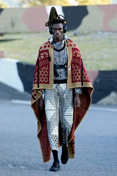 Chulaap - On Saturday 6 February, Chu Suwannapha sent his CHULAAP collection down the SA Menswear Week runway at the Cape Town Stadium with designs inspired by I See A Different You, the Jo'burg collective, and their travels in Africa. African Inspired Fashion, African Men Fashion, Africa Fashion, Mens Fashion, Fashion Outfits, Afro Punk Fashion, Style Masculin, Modelos Fashion, Kitenge