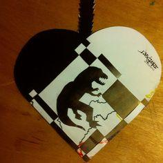 T-rex has a heart! T Rex, Paper Cutting, Scissors, Heart, Bicycle Kick, Hearts