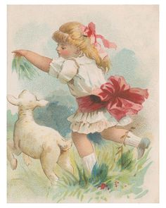 ♥  Young girl playing with a lamb