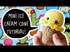 How to Crochet a Mini Ice-cream Cone - YouTube