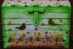 extra large chest trunk hand painted
