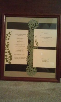 """If you are looking for a unique way to give a gift for a wedding you are attending this spring or summer, then look no further. I can take the wedding invitation and any other """"papers"""" that goes with the invitation and make a doily of your choice and frame them for you. Prices will vary according to the frames, doilies, and materials used. The one above includes the invitation, rsvp card, and rsvp envelope. The above one could be made for $25."""