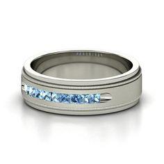 Men's Platinum Ring with Blue Topaz | Milgrain Crown Band (2mm gem) | Gemvara