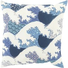 Outdoor safe coastal wave pillow from the Mizu collection at Surya (MZ-015).
