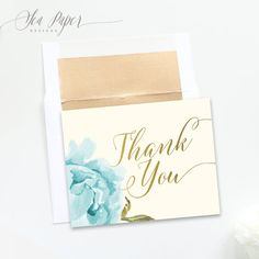 Henley Printable Thank You Cards Digital: Blue Peony Flowers