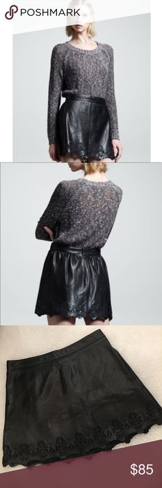 """Rag & Bone Paris Laser-Cut Trim Leather Skirt Brand: Rag & Bone Size 10 Details:  - Lambskin with laser-cut details. - Miniskirt style. - Scalloped hem. - Back zip. - Fully lined.  Approx Measurements: Waist measured across 15.5""""; Length 16"""" Color: Black Fabric: 100% Lamb leather.  Combo: Polyester chiffon  Lining: Cotton/Silk Professional leather dry clean only Made in Turkey  Condition: Light wear throughout. Flaws: Light creasing. Hanger marks on waist band. Minor tear/scuffing. Please…"""