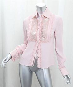 VALENTINO Womens Blush Pink Silk Lace Long-Sleeve Button-Down Shirt Blouse 6