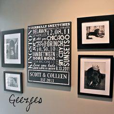 Photo Wall Display with Word Art Typography ELITE Series Word Art by Geezees
