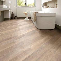 Add a sense of width by laying flooring at an angle Knight Tile KP95 Rose Washed Oak Bathroom Flooring